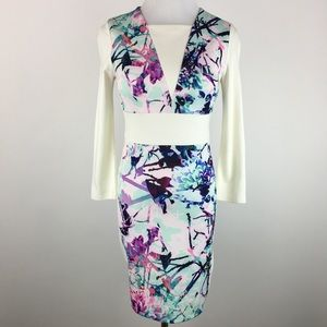 Bebe ivory and floral colorblock mini dress Sz XS